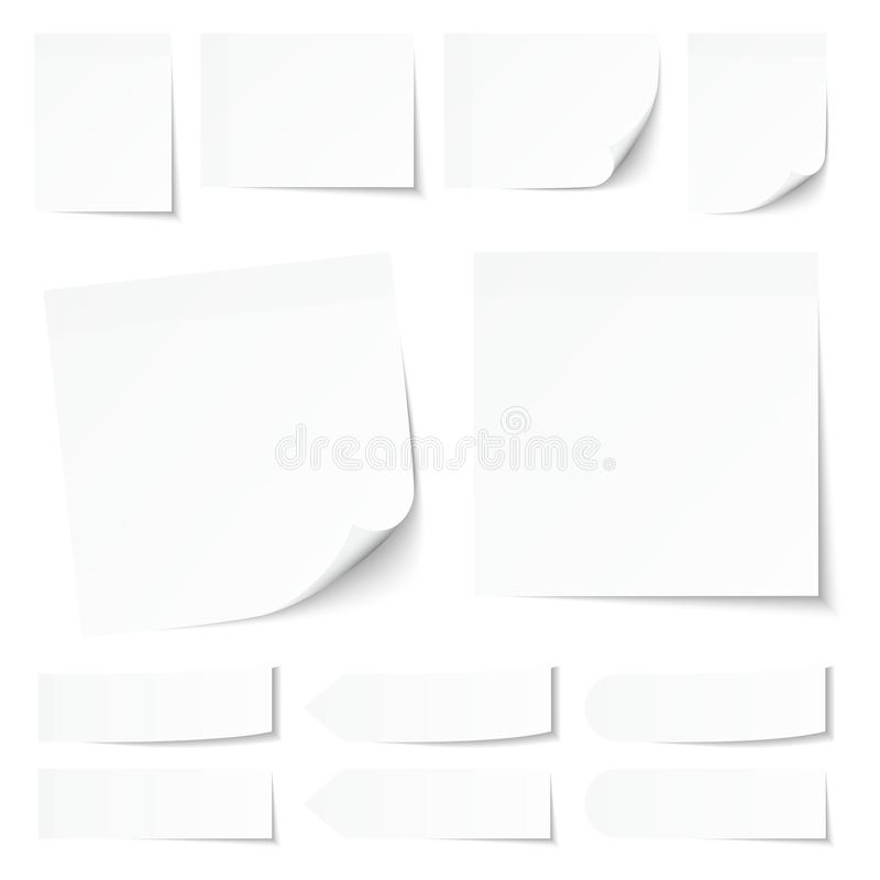 Set Of White Sticky Notes With Shadow royalty free illustration