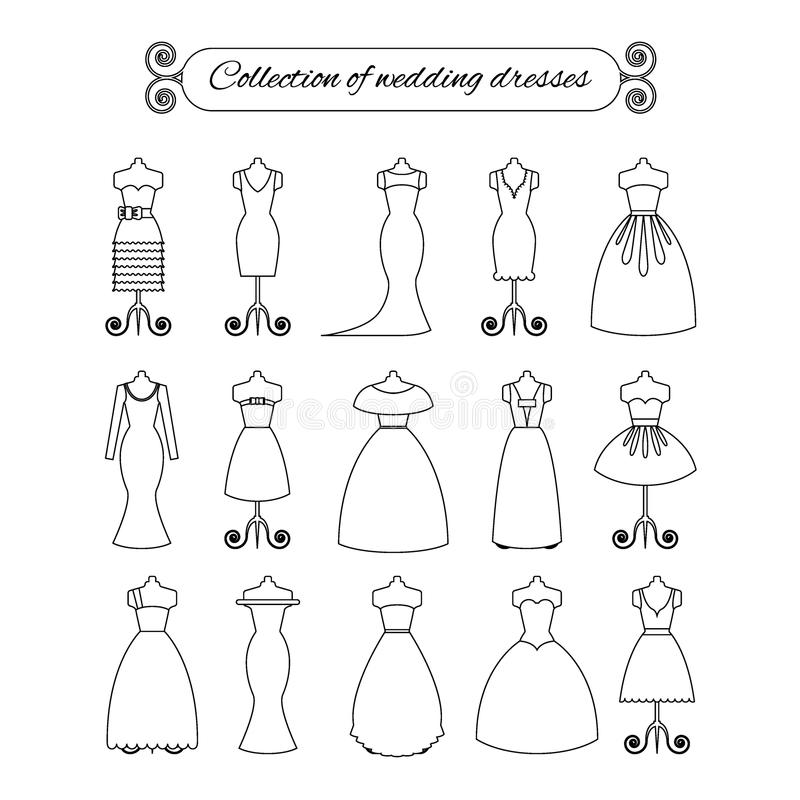 Collection of white thin line wedding dresses - stock vector illustration. Bride dress silhouette. vector illustration