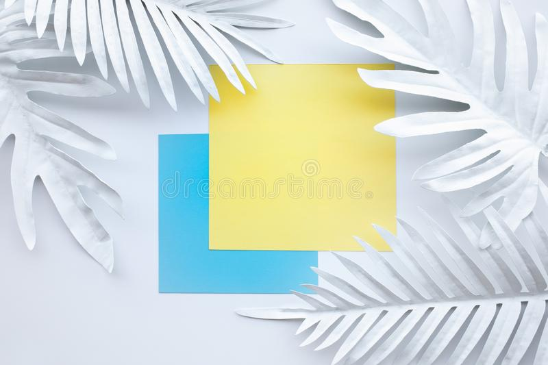Collection of white tropical leaves,foliage plant with geometric color space background stock illustration