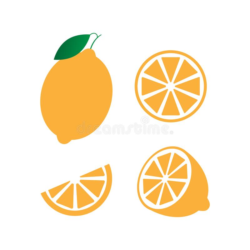 Collection of whole, cut half, slice, piece Tangerine with leaf, fruit pattern vector illustration sketch isolated. On white background royalty free illustration