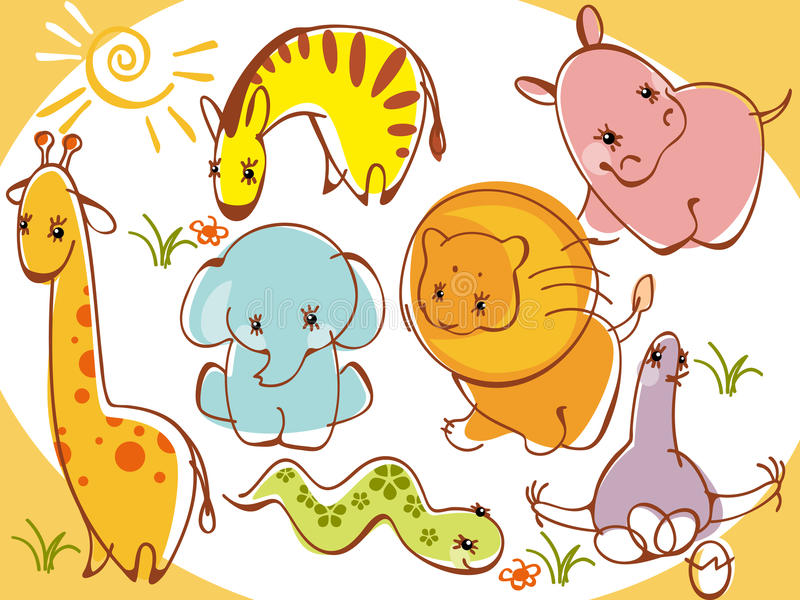 Collection wild animals vector illustration