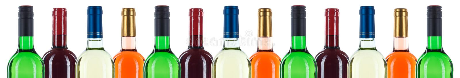 Collection of wine bottles bottleneck in a row red banner isolated on white royalty free stock photos