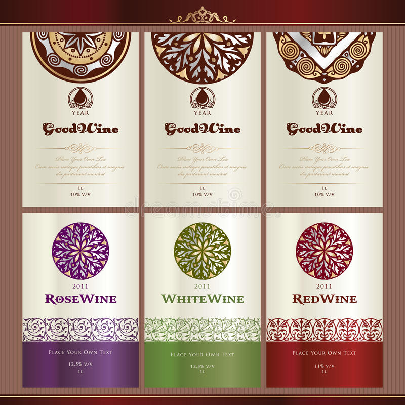 Collection of wine labels royalty free illustration