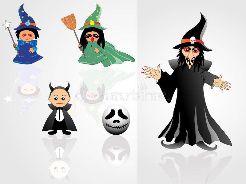 Collection of witch with background stock illustration