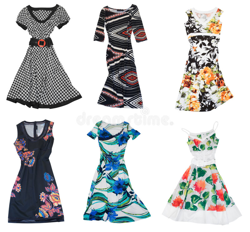 Collection of woman dress. Woman clothing. collection of dress isolated on white background stock images