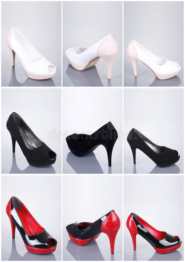 Collection of woman shoes stock photography