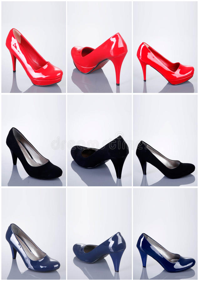 Collection of woman shoes stock images