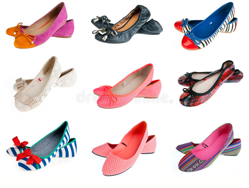 Collection of woman summer shoes royalty free stock images