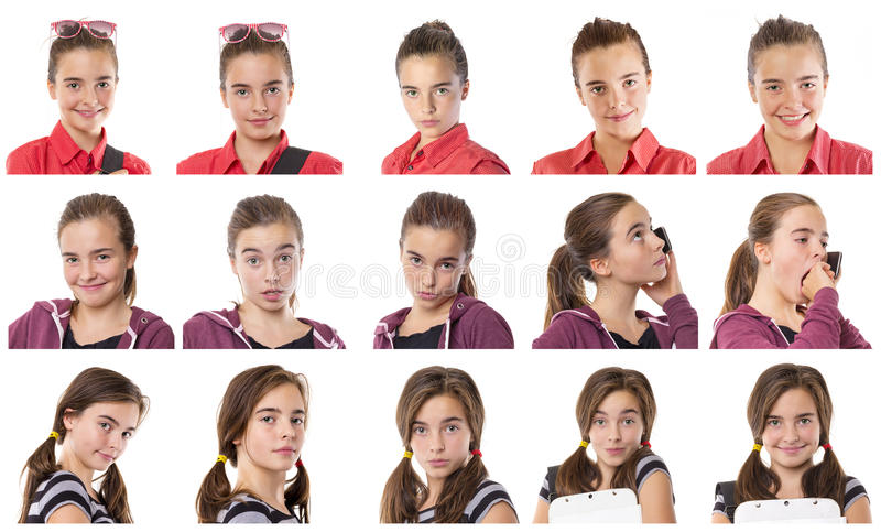 Collection of women portraits royalty free stock images