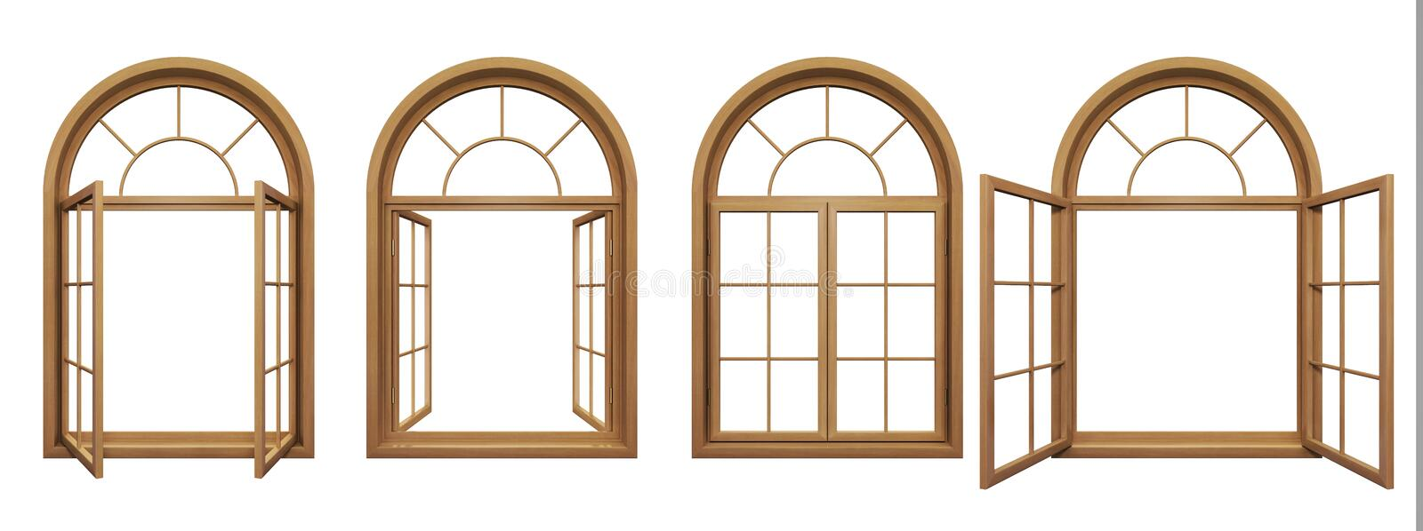 Collection of isolated wooden arched windows. Collection of wooden arched windows isolated on white royalty free illustration