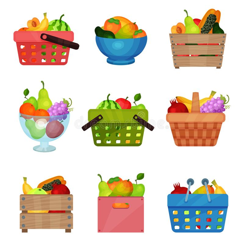 Flat vector set of wooden boxes, bowl, containers, shopping and picnic baskets with fresh fruits. Tasty and healthy food stock illustration