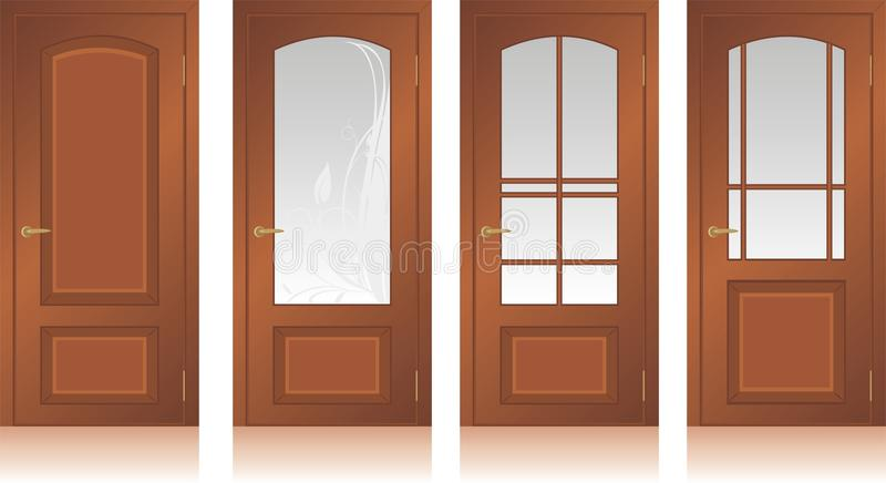 Collection of wooden doors stock illustration