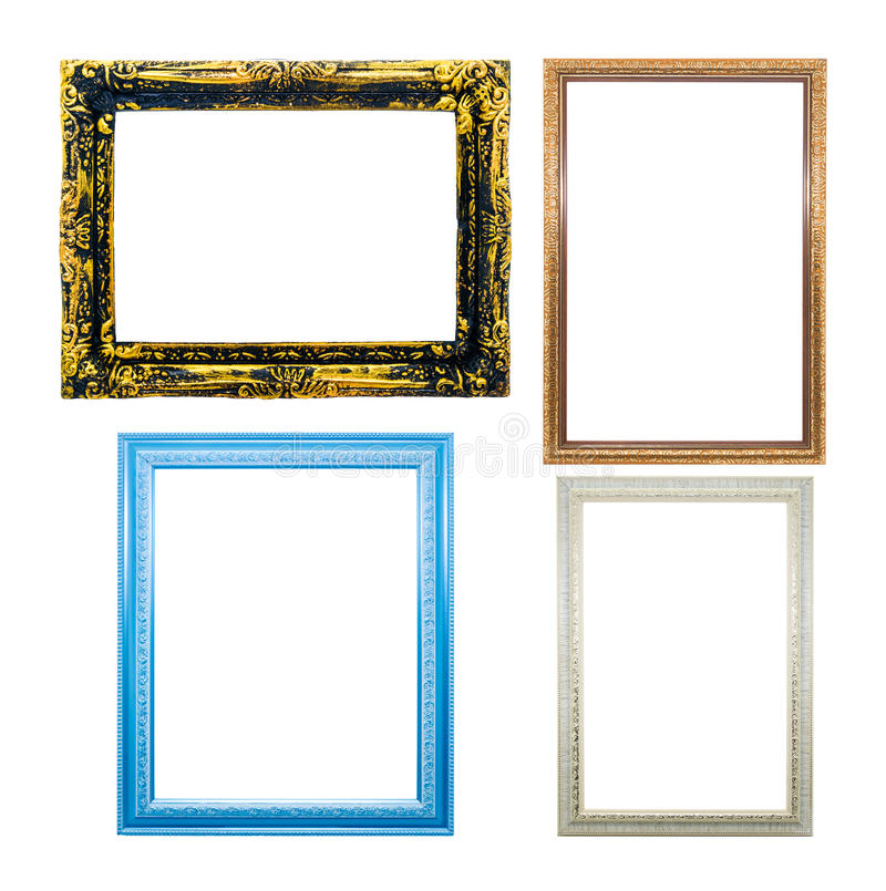 Collection of wooden frames for painting or picture on white background. stock photo