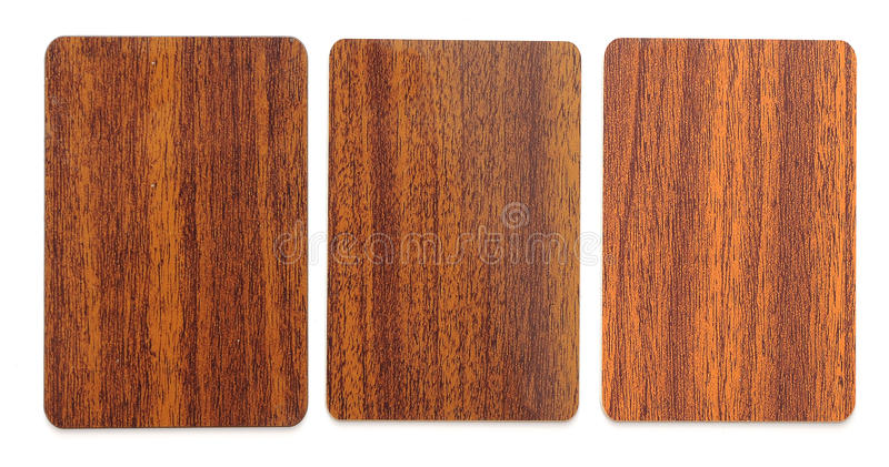 Collection of wooden plastic card blanks royalty free stock photos