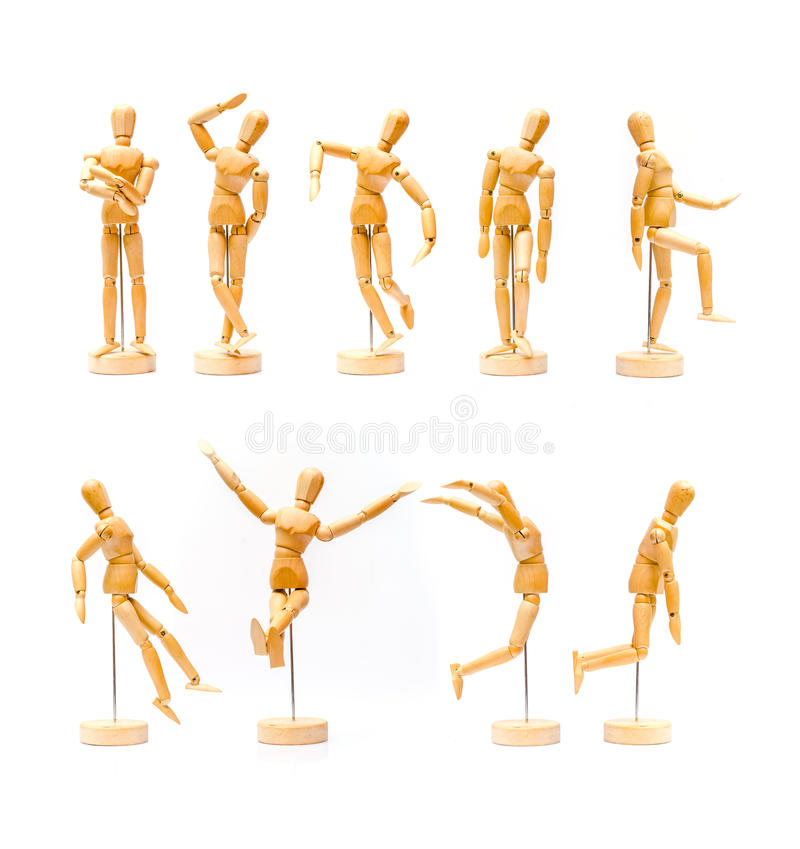 Collection of wooden puppet. Wooden figure on white background royalty free stock images