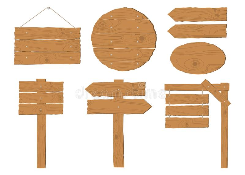 Collection of wooden signboard vector set. On white background vector illustration