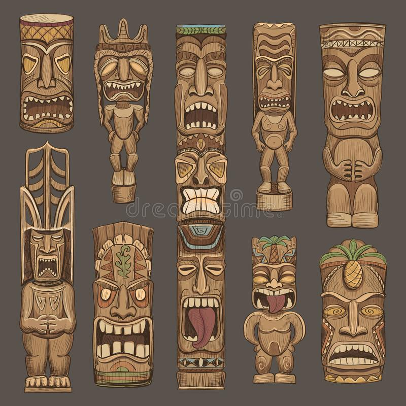 Collection of wooden tiki idols royalty free illustration