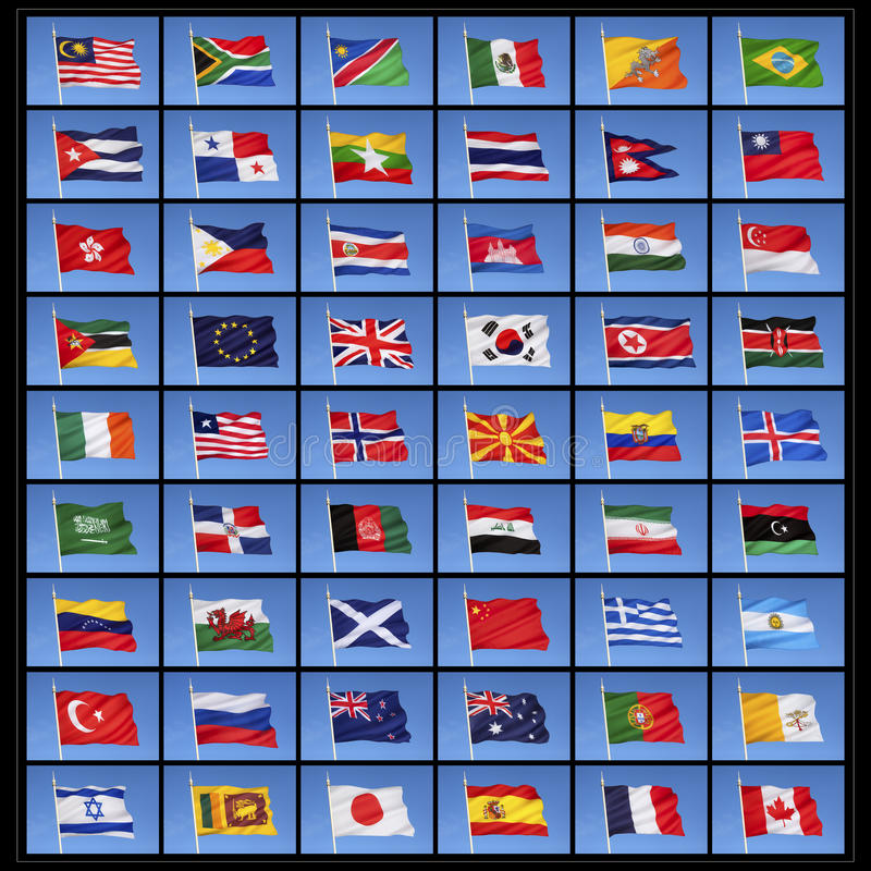 Collection of World Flags royalty free illustration