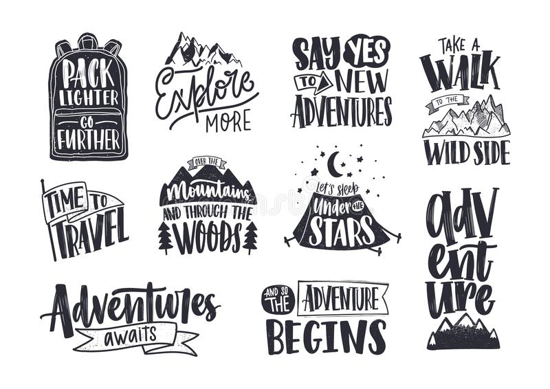 Collection of written phrases, slogans or quotes decorated with travel and adventure elements - backpack, mountain vector illustration
