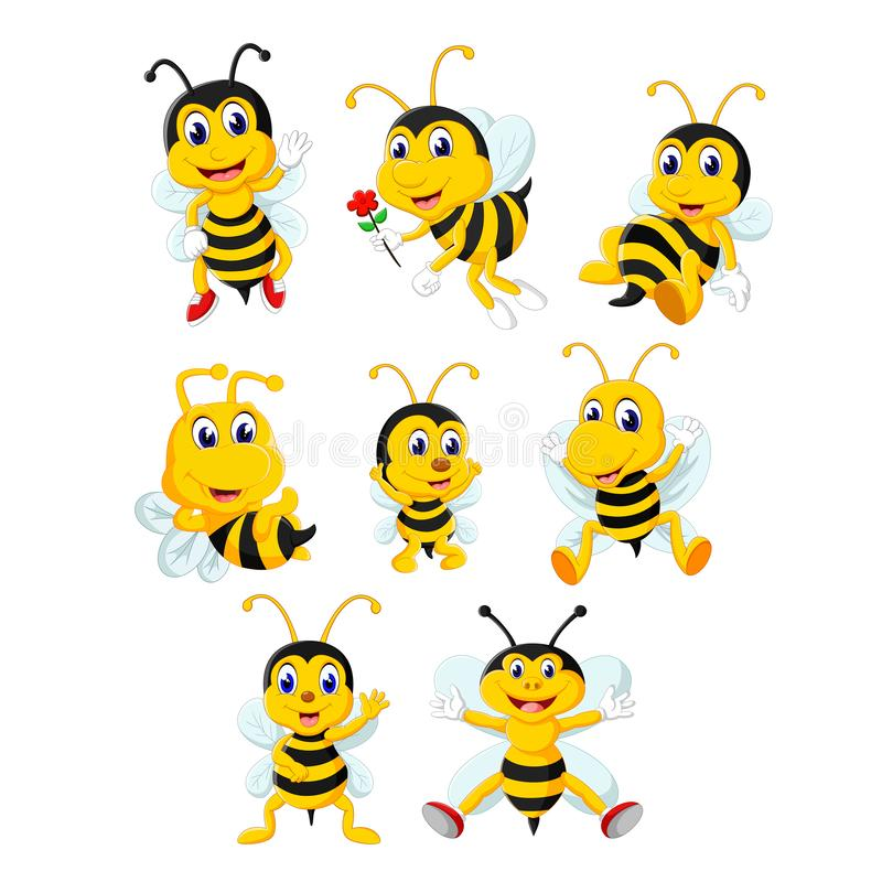 The collection of the yellow bee in the different posing and size. Illustration of the collection of the yellow bee in the different posing and size stock illustration