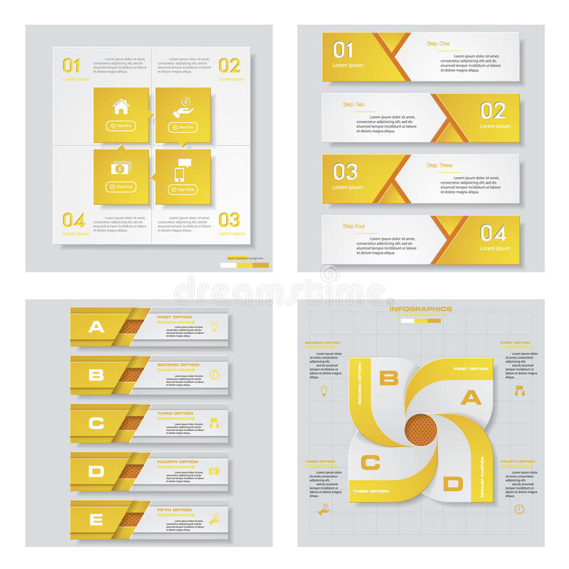 Collection of 4 yellow color template/graphic or website layout. Vector Background. For your idea and presentation vector illustration