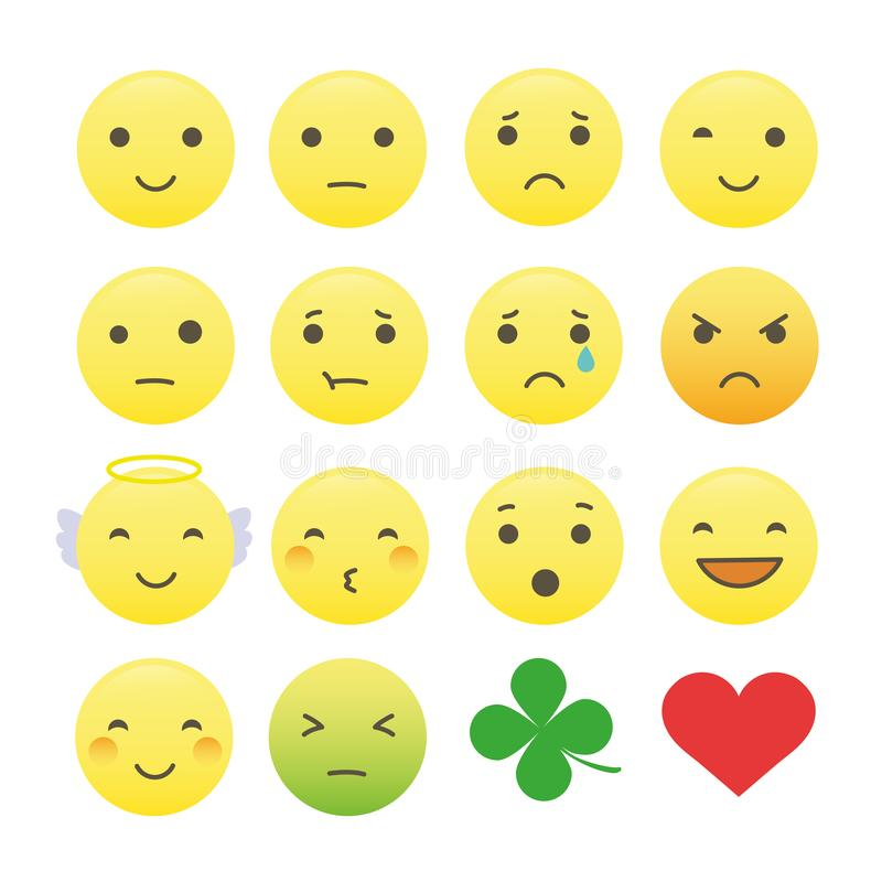 Collection of yellow emoticons and symbols isolated on white background royalty free illustration