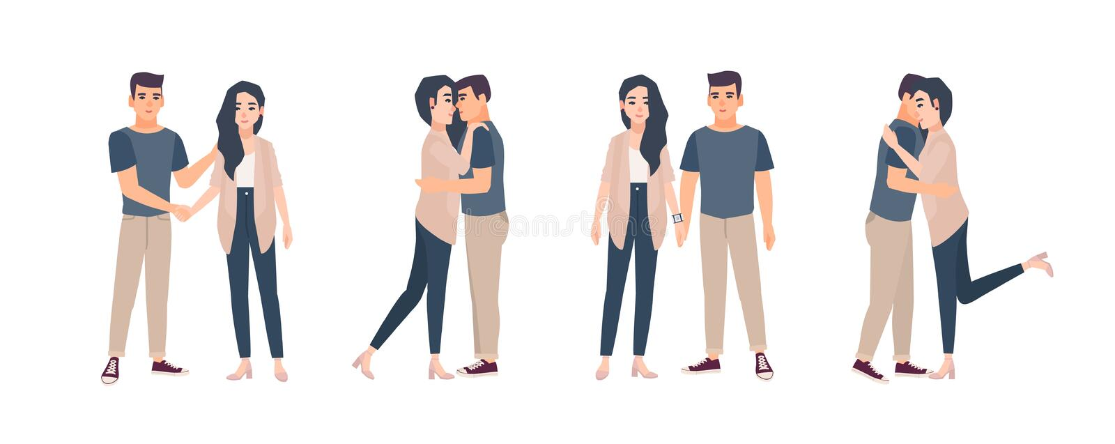 Collection of young couple standing in various poses. Bundle of man and woman embracing, hugging, holding hands. Set of. Flat cartoon characters isolated on stock illustration