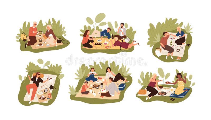 Collection of young and elderly people at picnic. Bundle of happy men, women and children eating meals outdoors. Set of royalty free illustration
