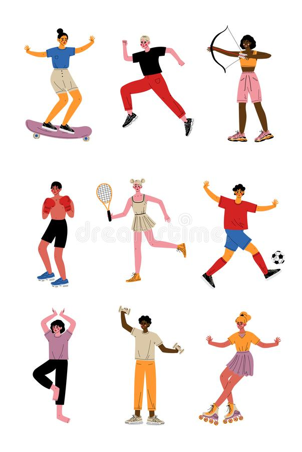 Collection of Young People Doing Different Kinds of Sports, Professional Athletes Characters in Sportswear with Sports royalty free illustration