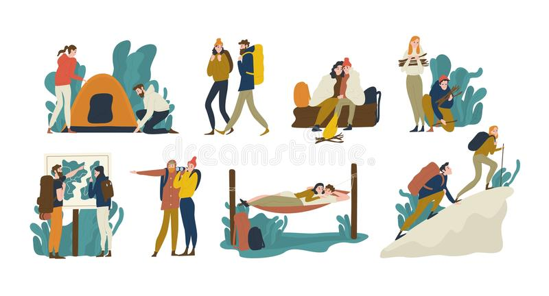 Collection of young romantic couples during hiking adventure travel or camping trip. Men and women pitching tent, lying stock illustration
