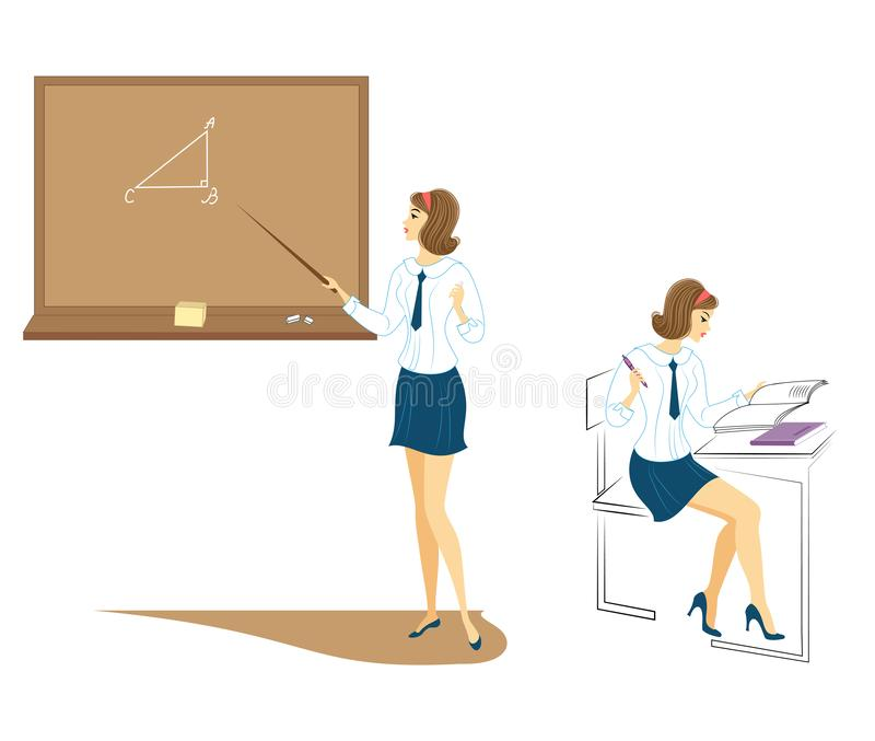 Collection. Young schoolgirls in class. The girl sits at a desk and writes in a notebook. The lady is talking near the board. Set vector illustration