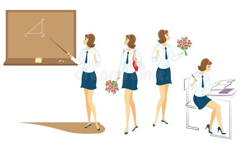 Collection. Young schoolgirls with flowers, in class near the blackboard in class. The girls are very nice. The lady will give the royalty free illustration