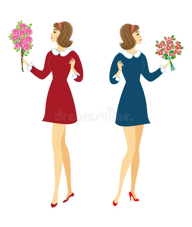 Collection. Young schoolgirls with flowers. The girls are very nice, they have a good mood, a smile. The lady will give the stock illustration