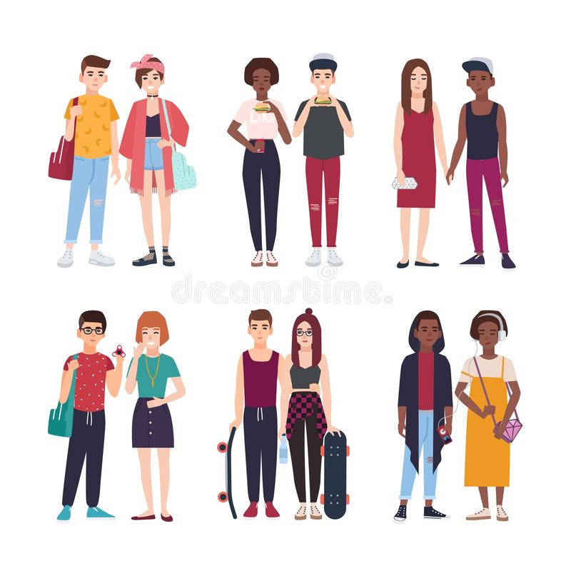 Collection of young teenage couples dressed in trendy clothes. Set of pairs of stylish teen boys and girls. Modern vector illustration