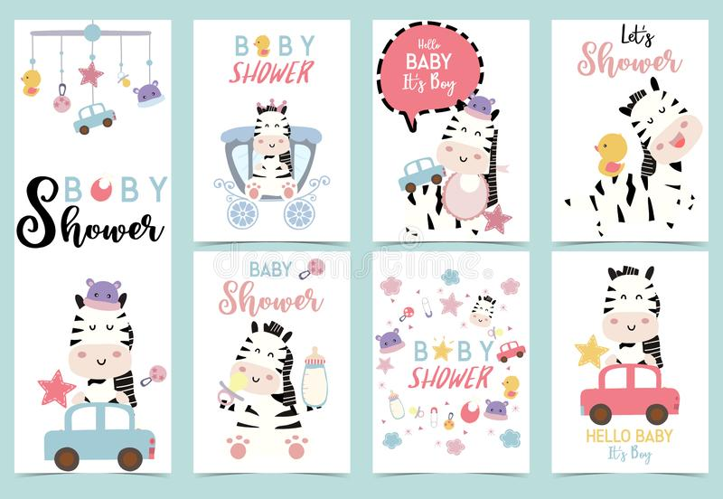 Collection of zebra baby shower set with hat,star,car and duck stock illustration