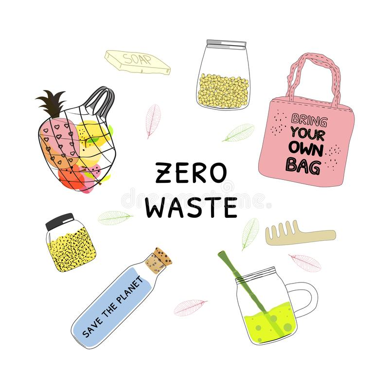 A collection of zero waste. Set with pink fabric eco shopping bag, string bag with fruits stock illustration