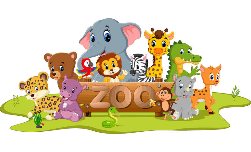 collection of zoo animals royalty free illustration