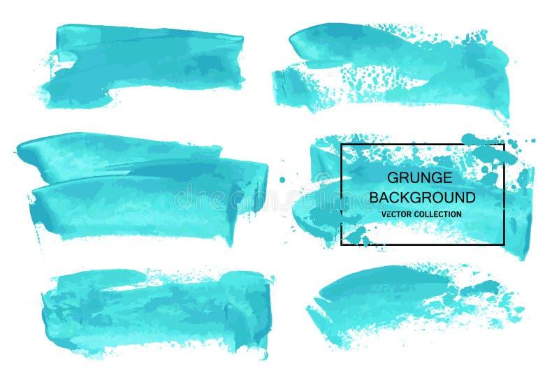 Collections bleues de course de brosse d'aquarelle de vecteur d'isolement sur le fond blanc Éléments tirés par la main pour votre illustration de vecteur