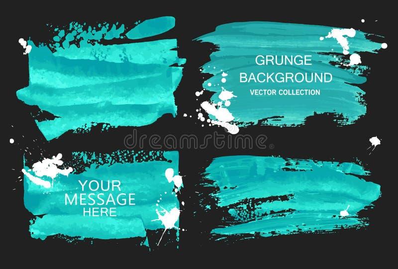 Collections bleues de taches de course et de blanc de brosse d'aquarelle de vecteur d'isolement sur le fond noir Éléments tirés p illustration de vecteur