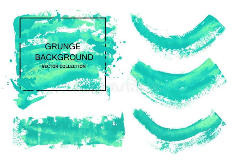 Collections de course de brosse d'aquarelle de vecteur d'isolement sur le fond blanc Éléments artistiques sales de conception, bo illustration stock