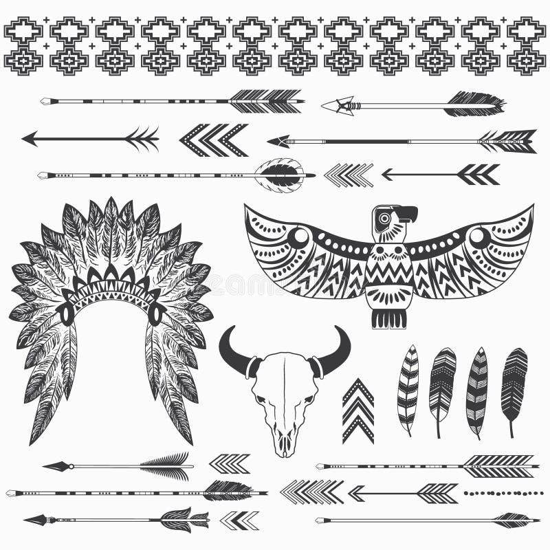 Collections indiennes tribales d'appartenance ethnique illustration libre de droits
