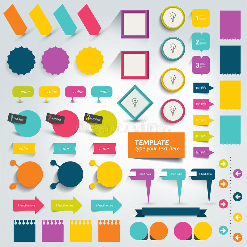 Collections of info graphics flat design elements. stock illustration