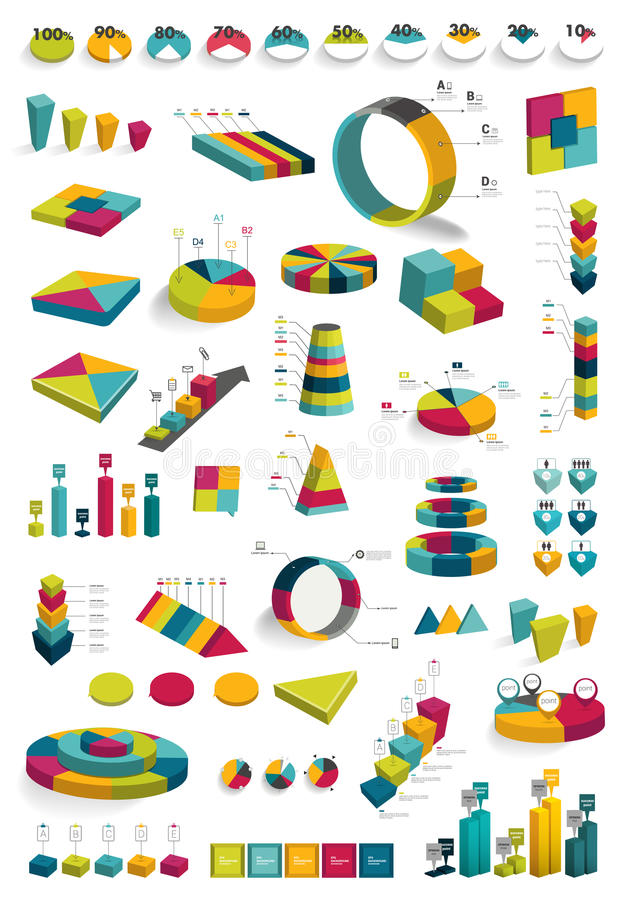 Collections of infographics 3D design diagrams. vector illustration