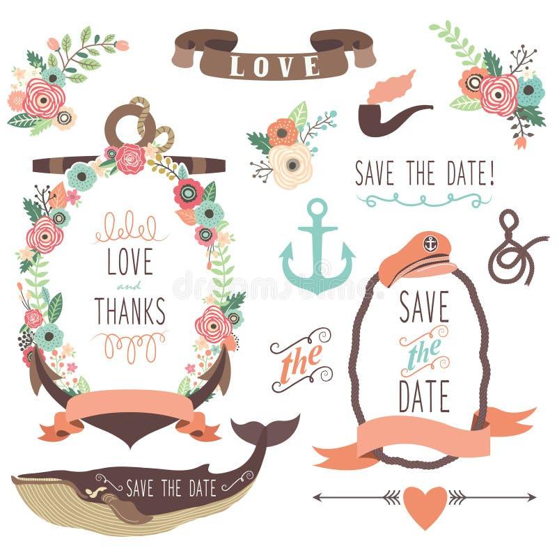 Collections nautiques de mariage de mer illustration libre de droits