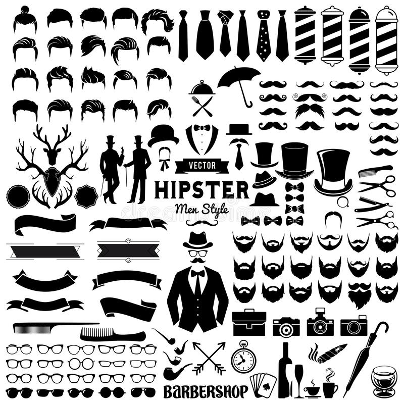 Collections set of Vintage styled design hipster icons. Design a vector illustration of Hipsters signs and symbols templates for your design isolated on white vector illustration