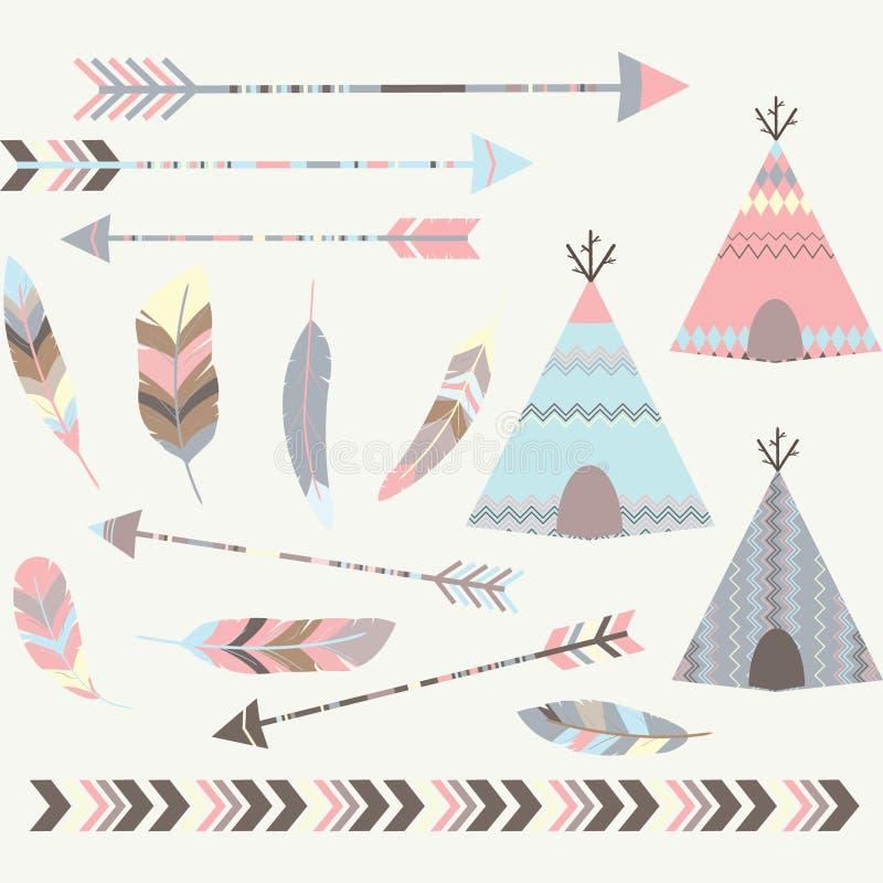 Collections tribales de tentes de pipi de pièce en t illustration libre de droits