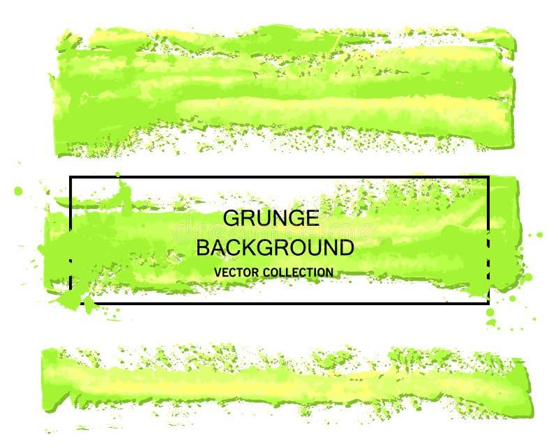 Collections vertes de course de brosse d'aquarelle de vecteur d'isolement sur le fond blanc Éléments artistiques sales de concept illustration libre de droits