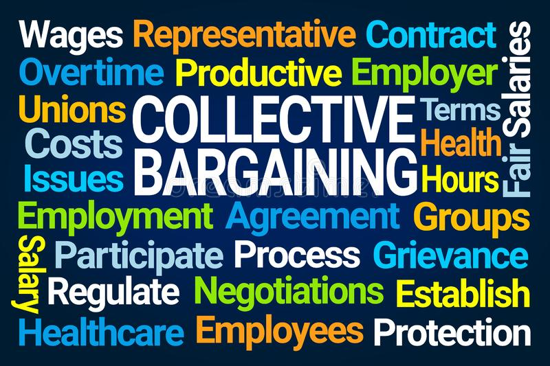 Collective Bargaining Word Cloud. On Blue Background royalty free illustration