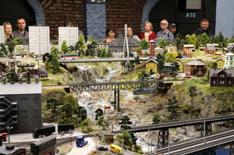 Bridges over the mountain river. Collective image of cities and regions of the Russian Federation, made in miniature. National show-museum `Grand layout Russia royalty free stock images