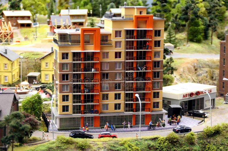 Model of a typical high-rise residential building. Collective image of cities and regions of the Russian Federation, made in miniature. National show-museum ` stock photo
